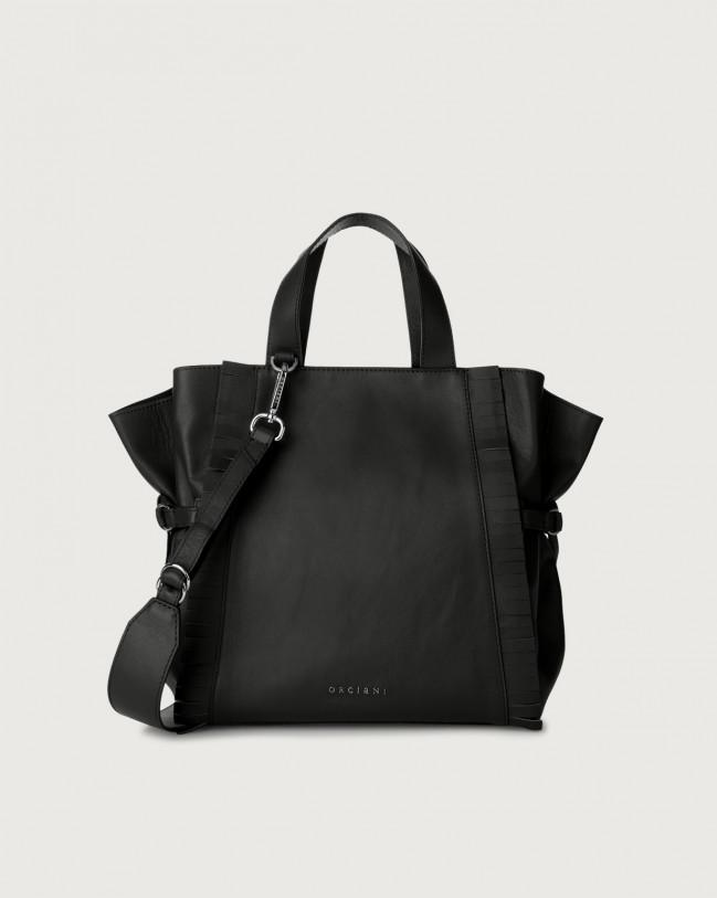 Orciani Fan Liberty Fringe medium leather handbag Leather Black