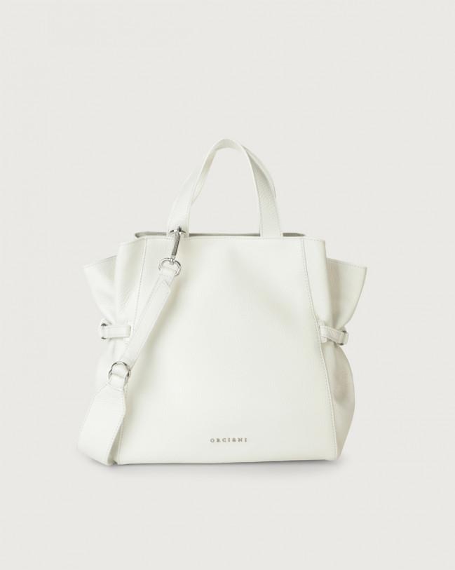 Orciani Fan Micron medium leather handbag Leather White
