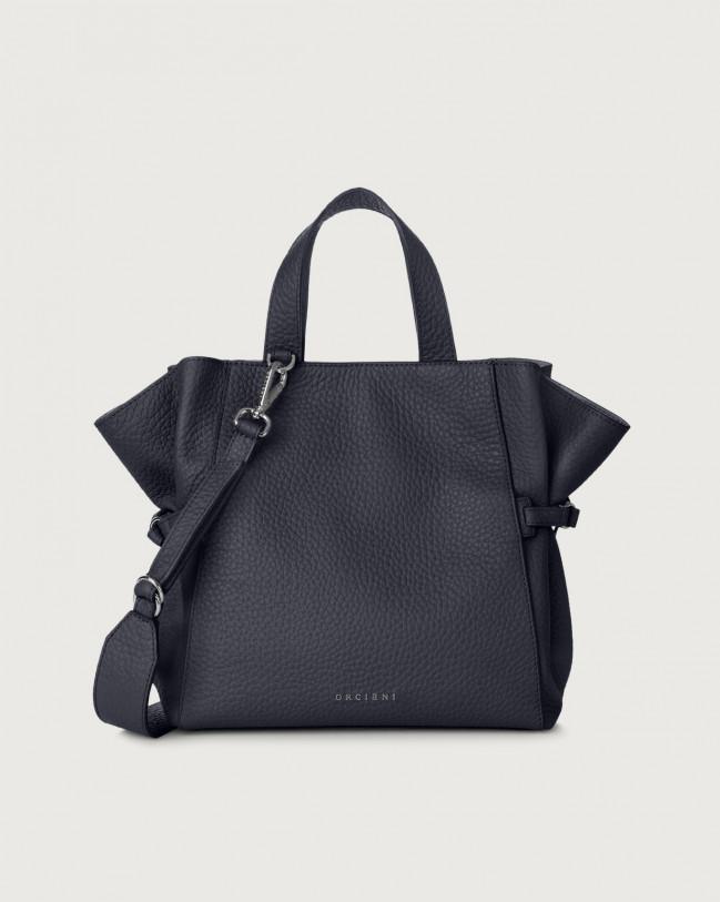 Orciani Fan Soft medium leather handbag Leather Navy