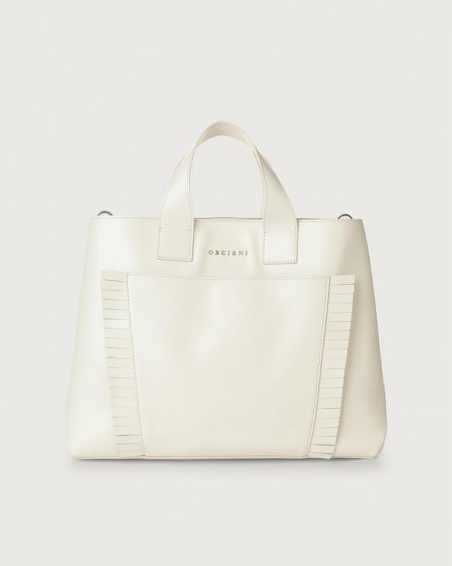 Orciani Nora Liberty Fringe large leather handbag Leather White