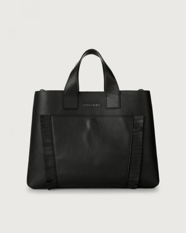 Orciani Nora Liberty Fringe large leather handbag Leather Black