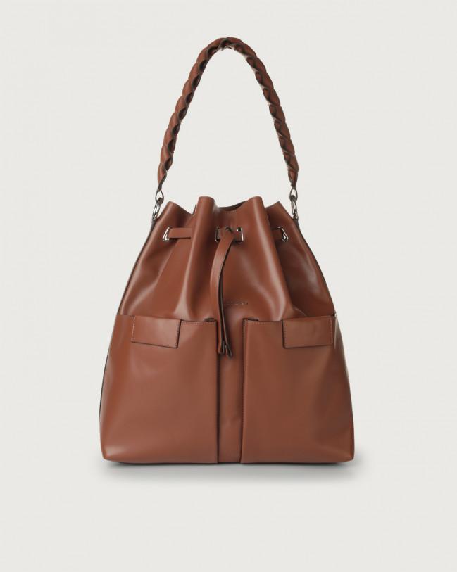 Orciani Tessa Liberty large leather bucket bag Leather Cognac