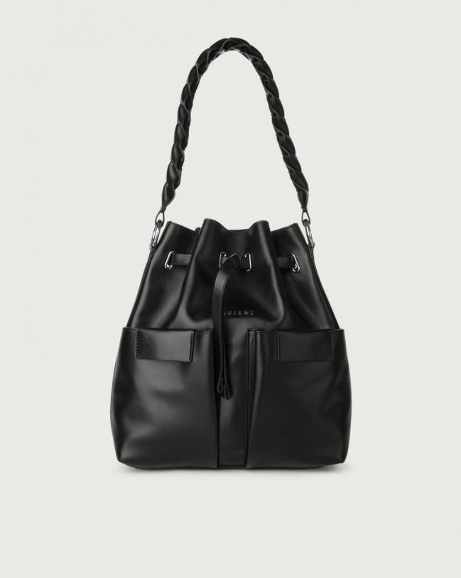 Orciani Tessa Liberty medium leather bucket bag Leather Black