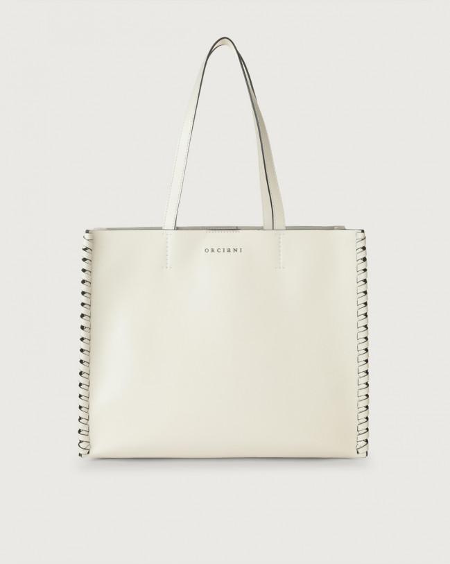 Orciani Le Sac Liberty Mesh medium leather tote bag Leather White