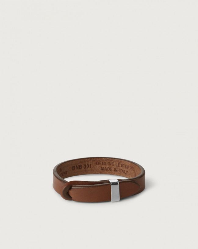 Orciani Bull leather Nobuckle bracelet with silver detail Leather Burnt