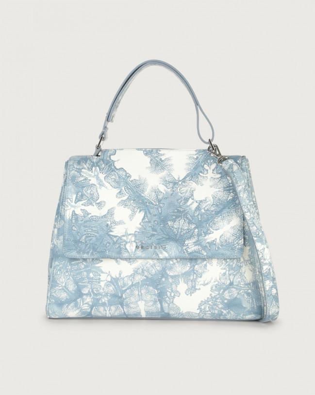 Orciani Sveva Caleido medium leather shoulder bag with strap Leather Denim