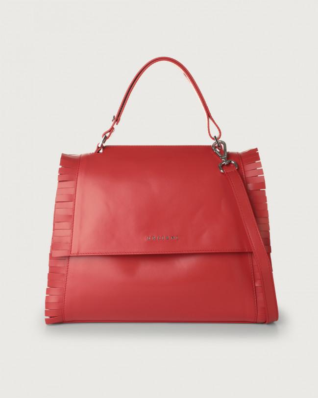 Orciani Sveva Fringe medium leather shoulder bag with strap Leather Red
