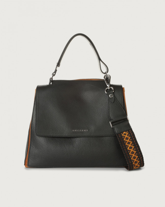 Orciani Sveva Warm medium leather shoulder bag with strap Canvas, Leather, Suede Black+Cocoa