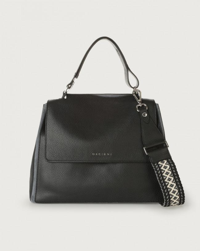 Orciani Sveva Warm medium leather shoulder bag with strap Canvas, Leather, Suede Black+Grey