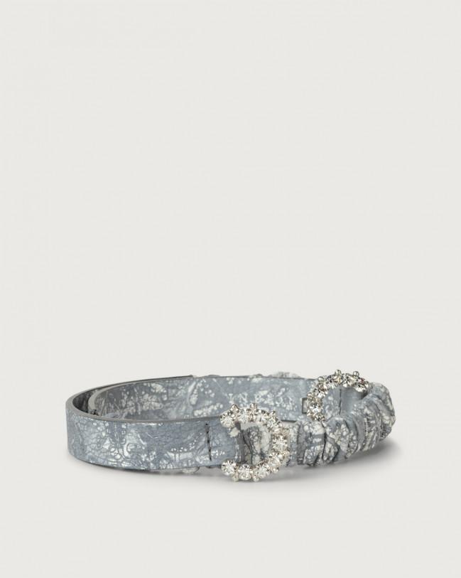 Orciani Caleido thin jewel leather belt Leather Grey