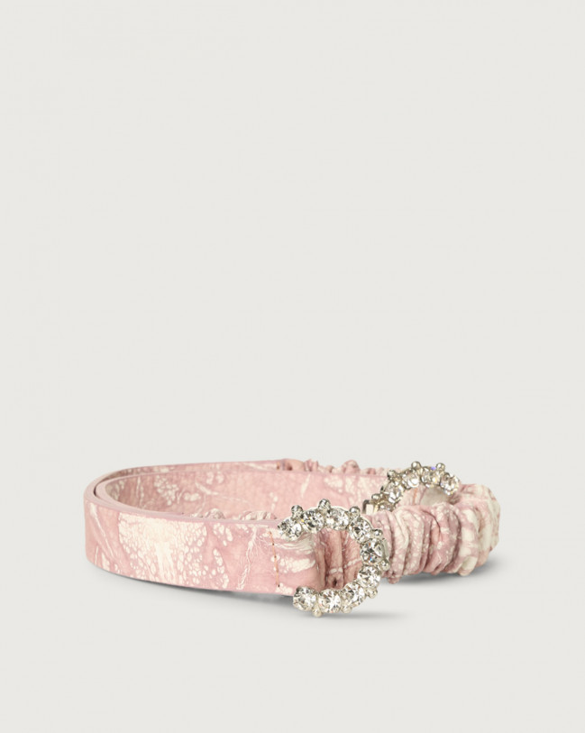 Orciani Caleido thin jewel leather belt Leather Pink
