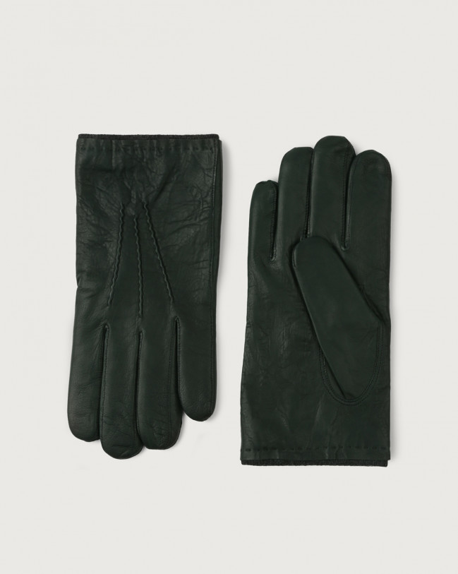 Orciani Nappa Washed leather gloves Cashmere, Wool Green