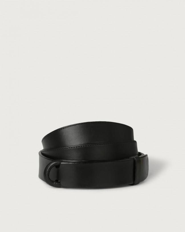 Orciani Bull leather Nobuckle belt Leather Black