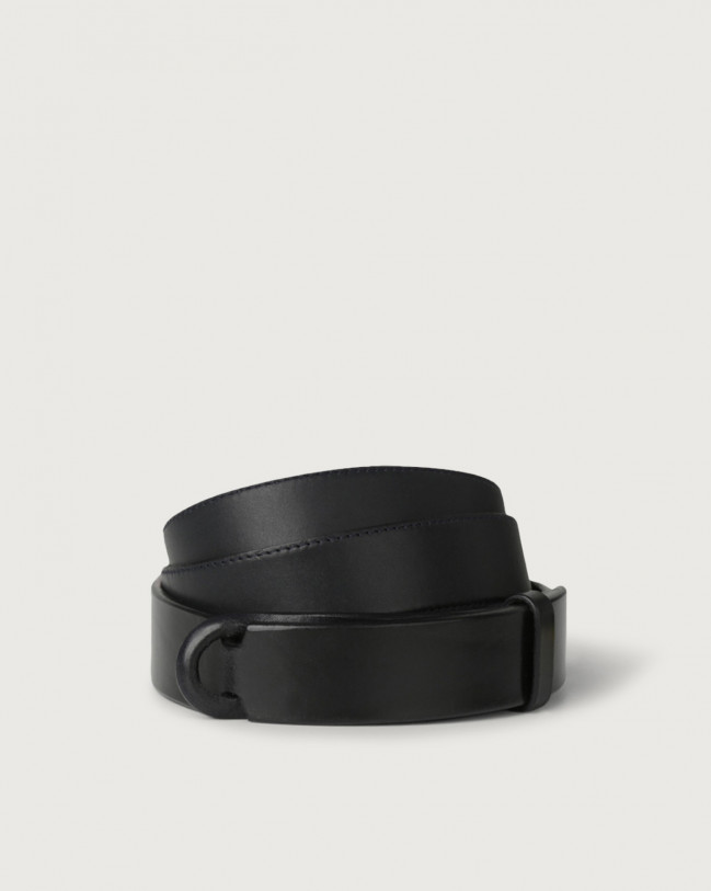 Orciani Bull leather Nobuckle belt Leather Blue