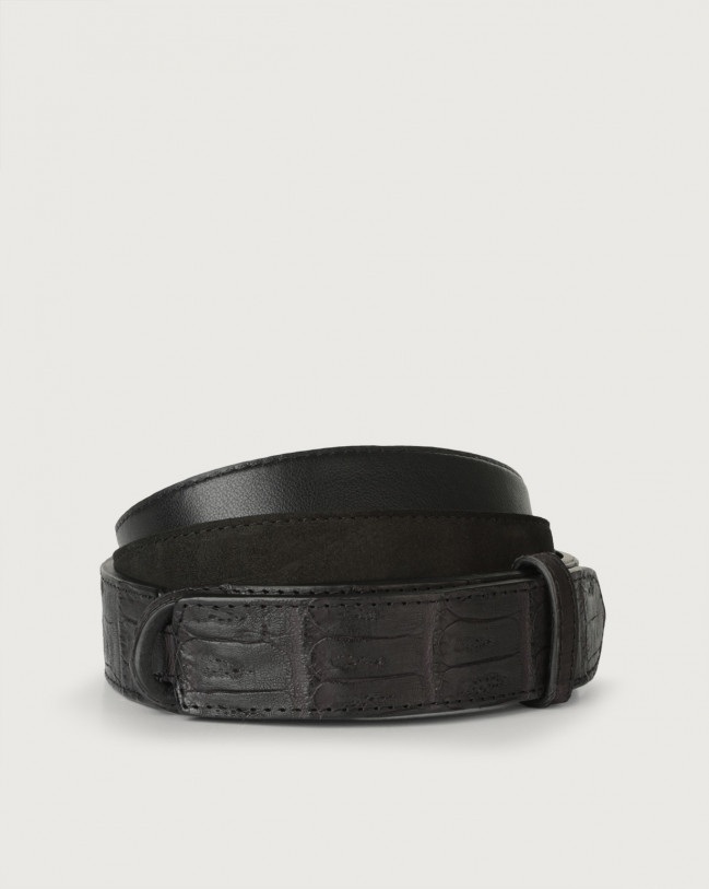 Orciani Camoscio cocco crocodile leather and suede Nobuckle belt Crocodile Leather, Suede Black