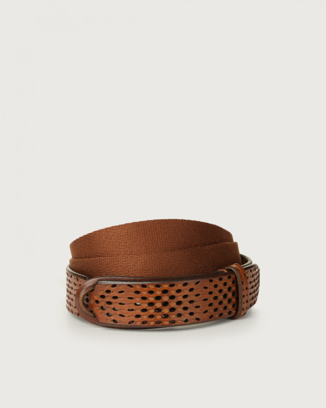 Orciani Dive leather and fabric Nobuckle belt Leather & fabric Cognac