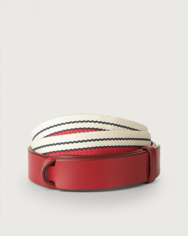 Orciani Line leather and fabric Nobuckle belt Leather & fabric Red+Red