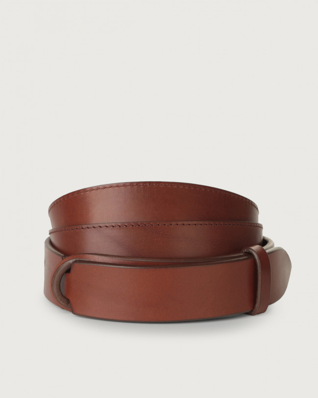 Orciani Bull leather Nobuckle belt Leather Brown
