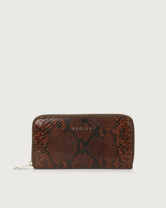 Orciani Diamond large python leather wallet with zip Python Leather Cocoa