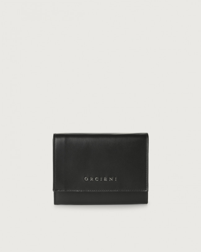 Orciani Liberty small leather envelope wallet Leather Black