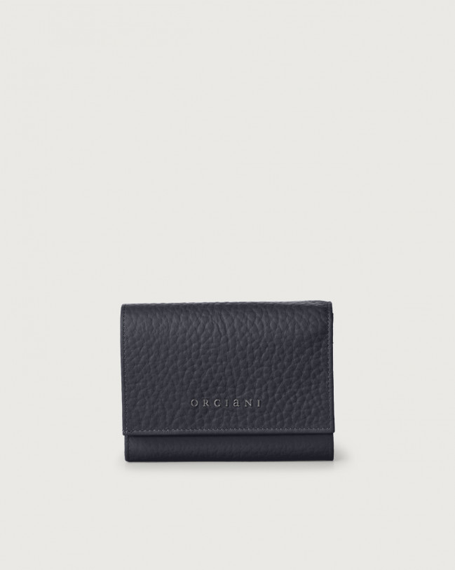 Orciani Soft small leather envelope wallet with RFID Leather Navy