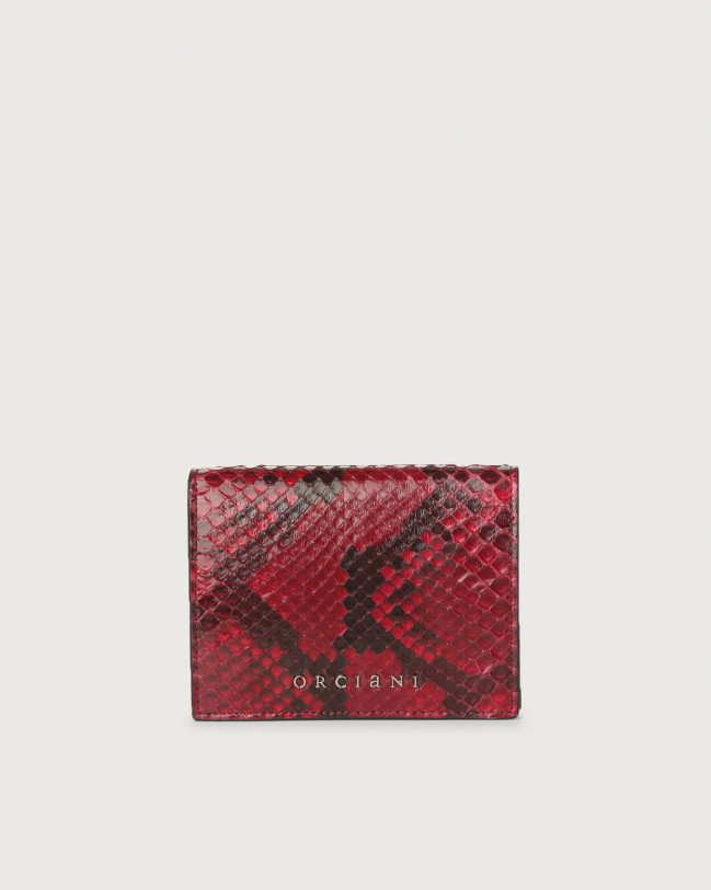 Orciani Diamond small python leather wallet Python Leather Ruby Red
