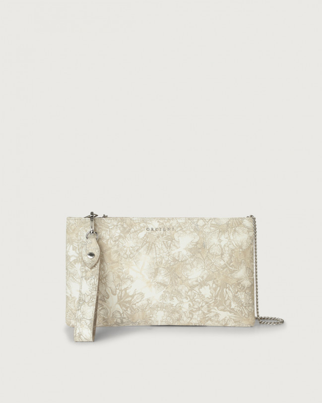 Orciani Caleido leather pouch with wristband Leather Sand