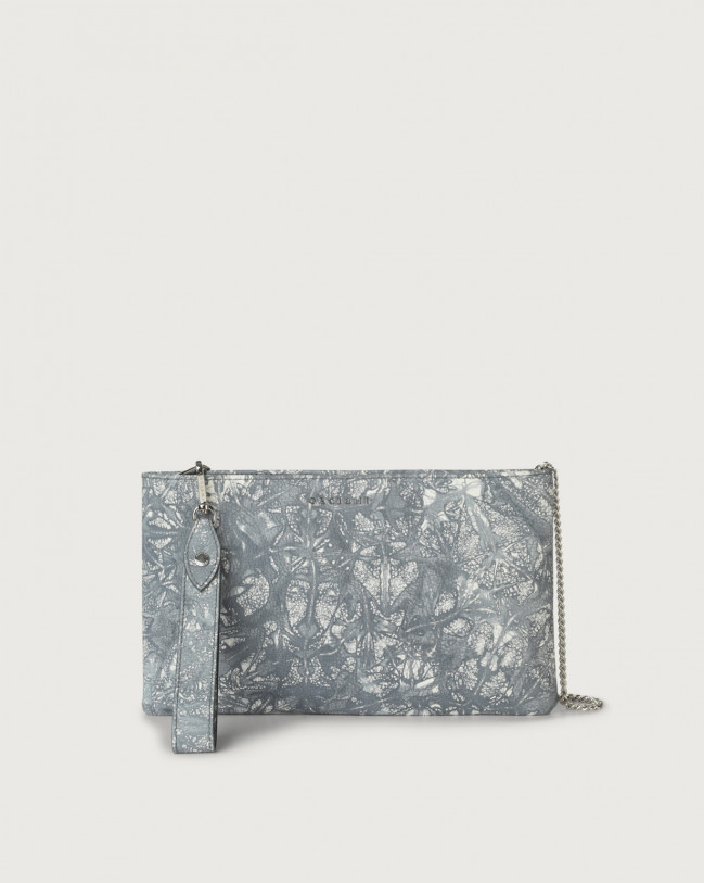 Orciani Caleido leather pouch with wristband Leather Grey