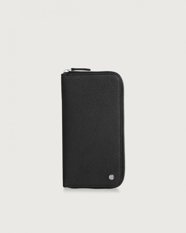Orciani Micron vetrical leather wallet with zip Leather Black