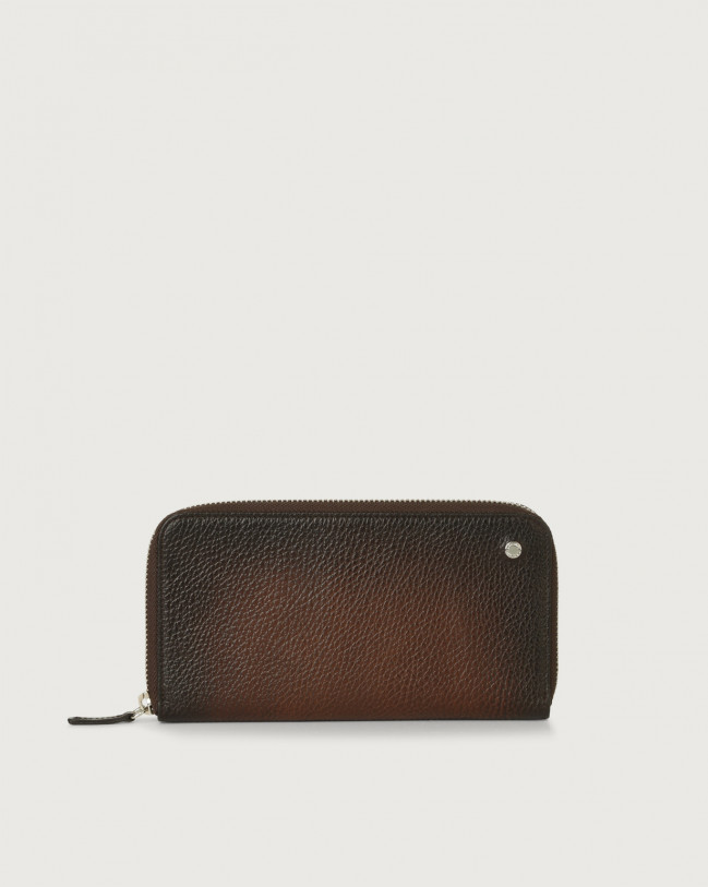Orciani Micron Deep leather wallet Leather Burnt
