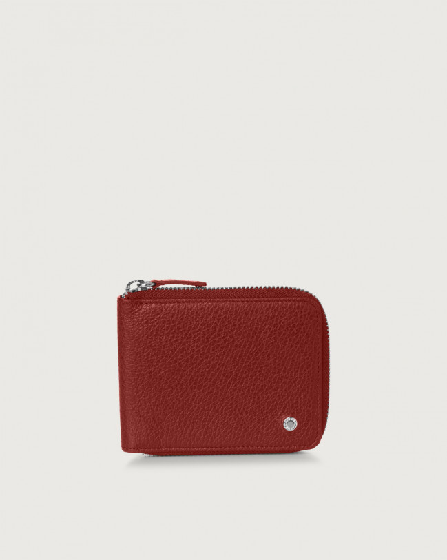 Orciani Micron leather wallet with coin pocket Bordeaux
