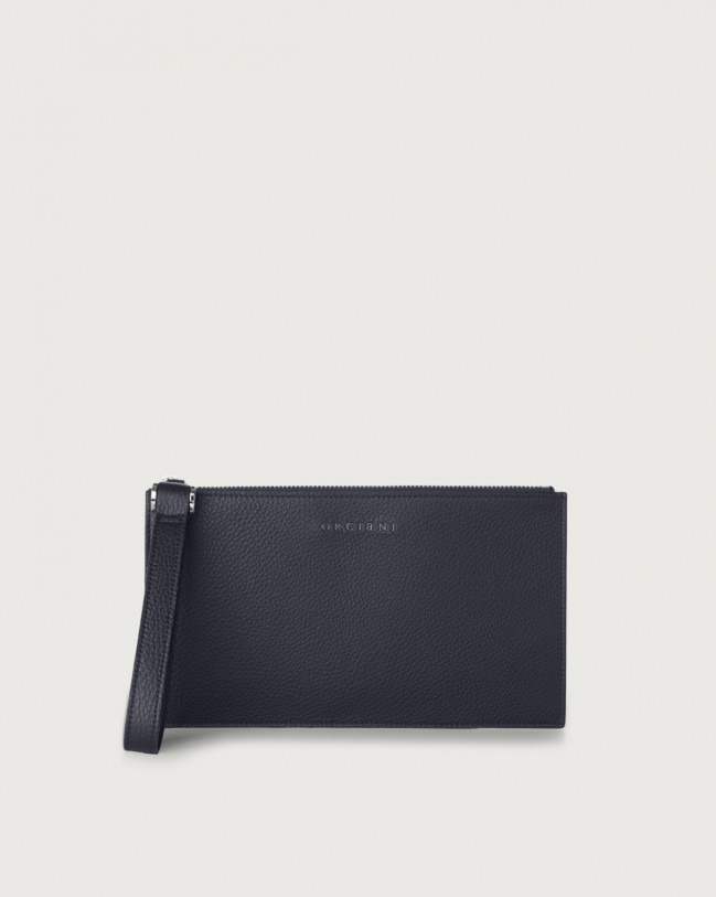 Orciani Micron leather pouch with wristband Navy