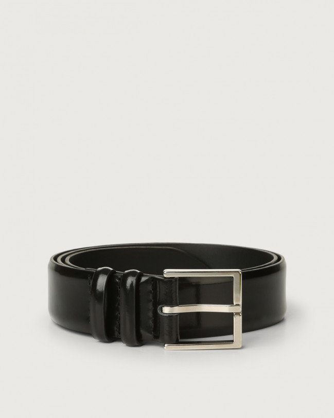 Orciani Bright classic patent leather belt Leather Black