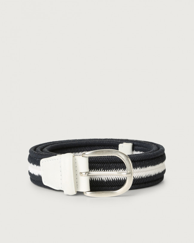 Orciani Elast Duo woven stretch cotton belt Leather & cotton Deep Blue