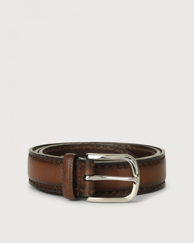 Orciani Micron Deep leather belt Leather Burnt