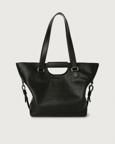 Isotta Kindu croc-effect leather shoulder bag