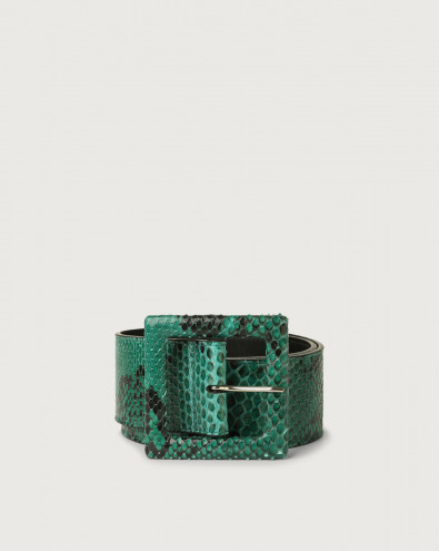 Diamond high waist python leather belt with covered buckle