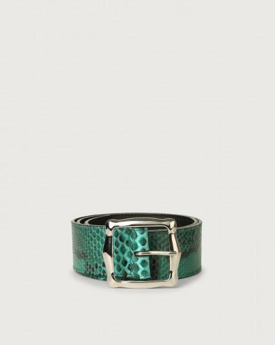 Diamond high-waist pyhton leather belt
