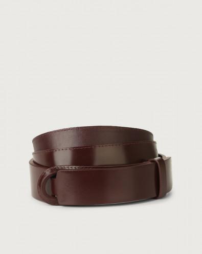 Bright leather Nobuckle belt