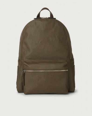 Leisure fabric and leather backpack