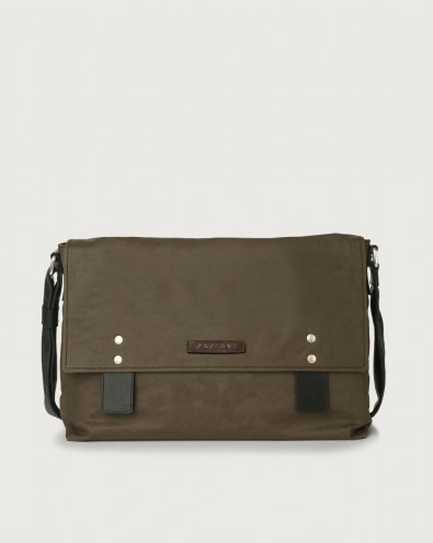 Leisure fabric and leather messenger bag