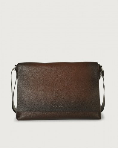 Micron Deep leather messenger bag