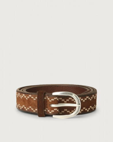 Cloudy Frame suede leather belt