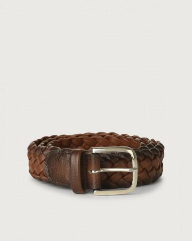 Micron Deep braided leather belt