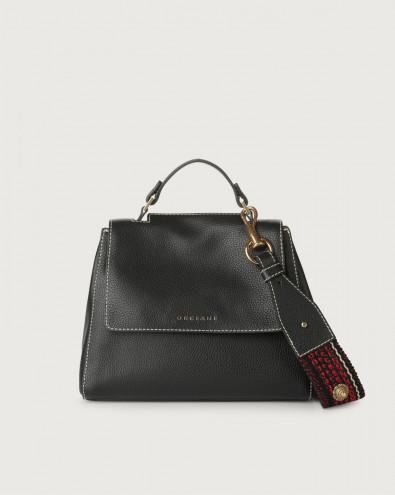 Sveva Fanty Black small leather handbag with strap