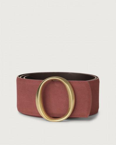 Alicante high-waist nabuck leather belt with monogram buckle