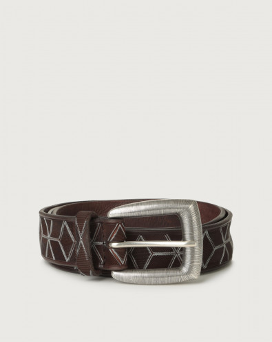Prismatic leather belt