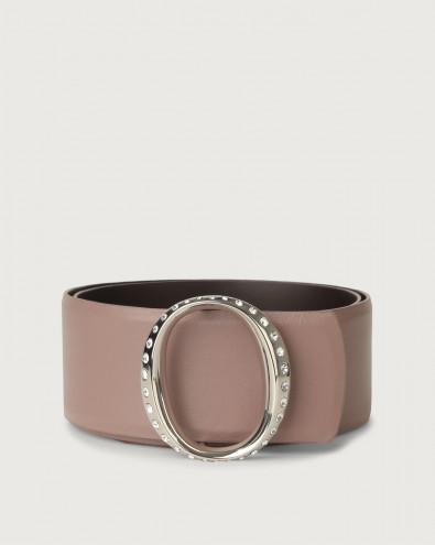 Liberty high-waist leather belt with jewel monogram buckle