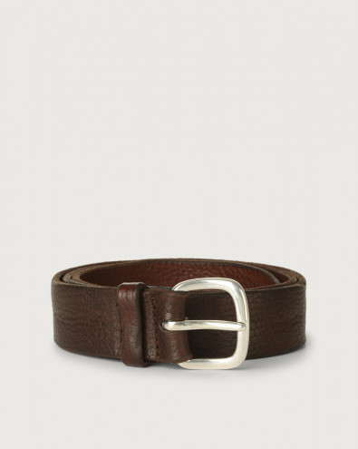 Grit embossed leather belt