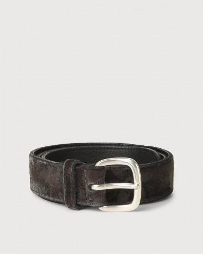 Velvet and leather belt